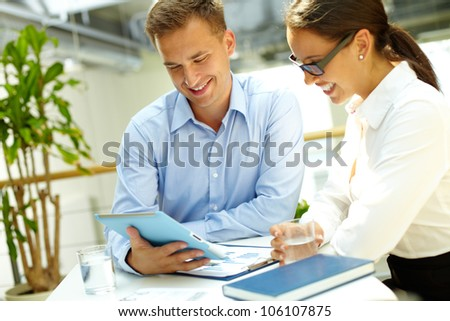 Image of a happy business team enjoying the results of their work - stock photo
