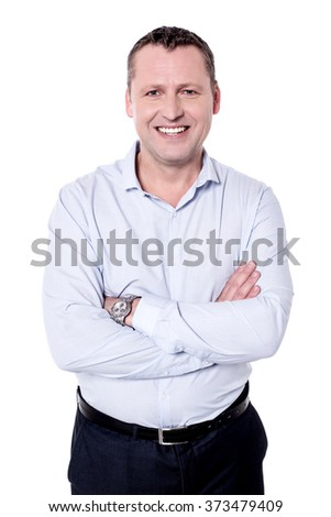 Image of a happy man with folded arms