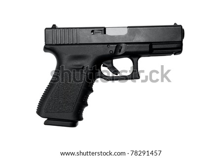 Image of a high quality semi auto handgun on white with a clipping path - stock photo