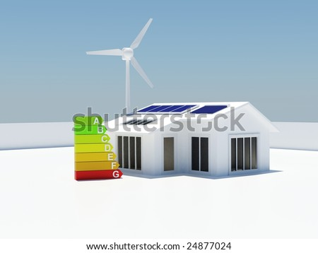 Image of a house with renewable energy sources - stock photo