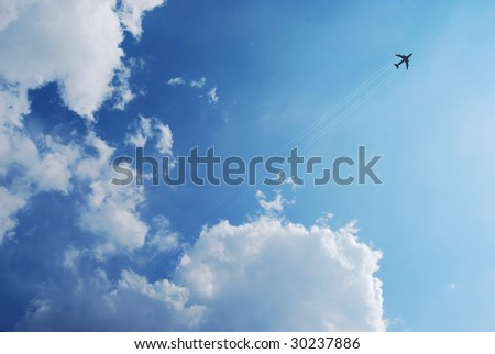 Image of a jet in flight - stock photo