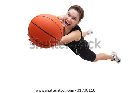 Image of a jumping lady basketball player