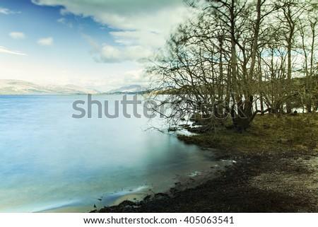 Image of a lake landscape from Loch Lomond, Scotland.  - stock photo