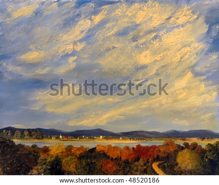Image Of a landscape Painting Oil on Canvas - stock photo