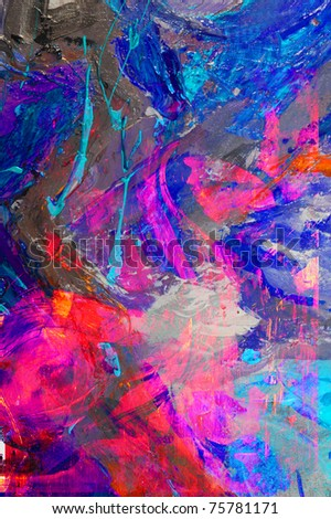 image of a large scale abstract original Oil painting - stock photo