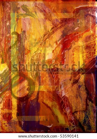 Image of a Large scale Abstract painting On Canvas - stock photo