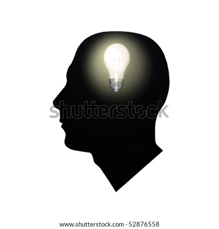 Image of a light bulb inside of a man's head.