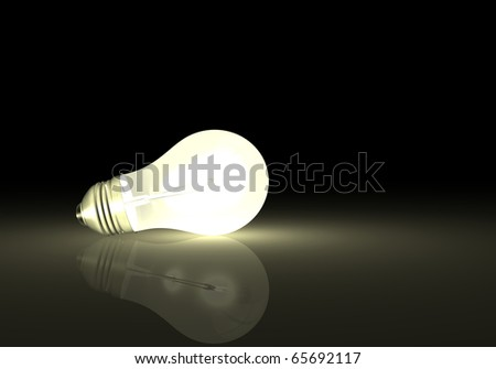 Image of a light bulb with reflection on a dark background. - stock photo