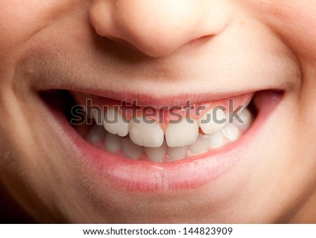 image of a little girl mouth smiling - stock photo