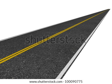 image of a long straight road isolated on white - stock photo