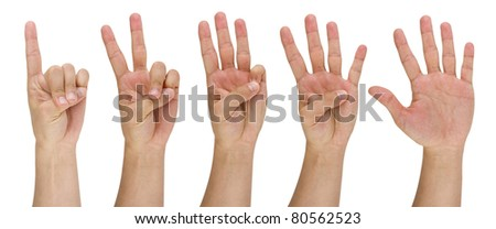 image of a man's finger pointing from one to five