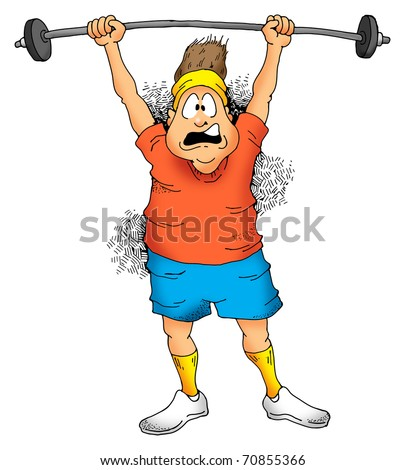 Image of a Man struggling to lift a barbell