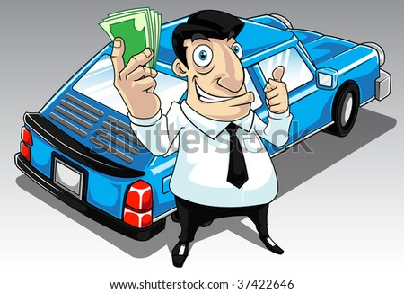 Image of a man who get approval for his car loan - stock photo