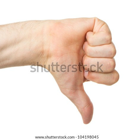 Image of a mans hand showing thumb down in isolation - stock photo