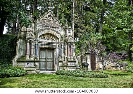 Image of a mausoleum in a cemetery - stock photo