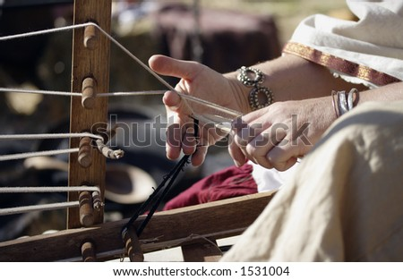 Image of a medieval loom - stock photo