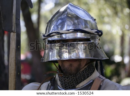 Image of a medieval soldier - stock photo