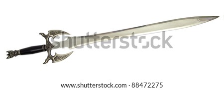 image of a medieval sword over white - stock photo