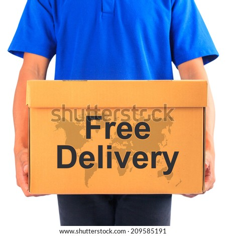 """image of a messenger delivering holding a package with """"free delivery"""" text  - stock photo"""
