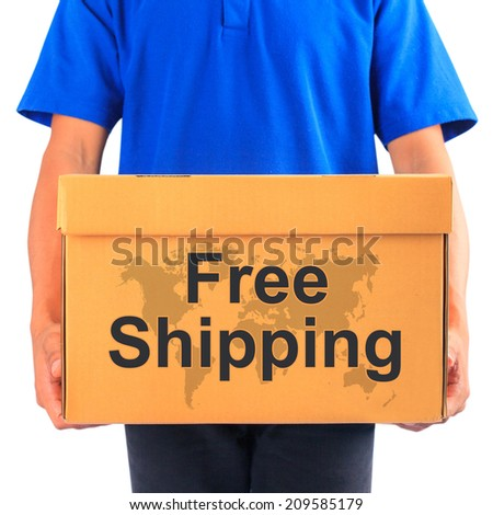 """image of a messenger delivering holding a package with """"free shipping"""" text  - stock photo"""