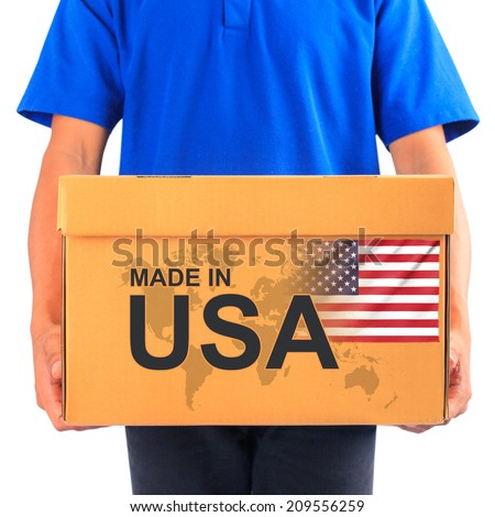 image of a messenger delivering holding a package with made in USA - stock photo
