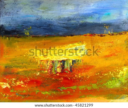 Image of a mixed media painting On canvas - stock photo