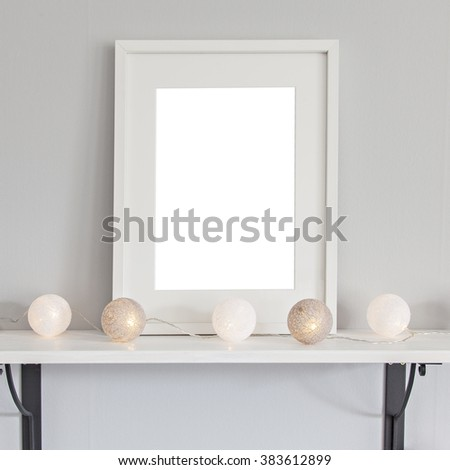 Image of a mockup scene with rectanglurar white frame, and baubles.  - stock photo