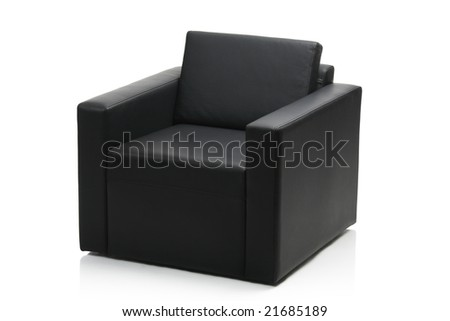 Image of a modern black leather armchair isolated on white background - stock photo