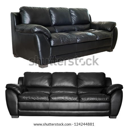 Image of a modern black leather sofa isolated against white background - stock photo