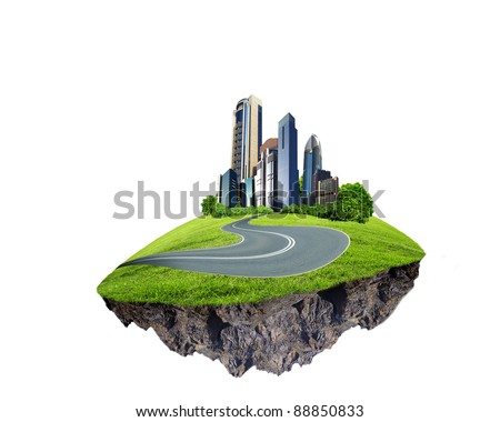 Image of a modern city surrounded by nature landscape - stock photo