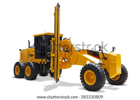Image of a modern motor grader with yellow color, isolated on white background