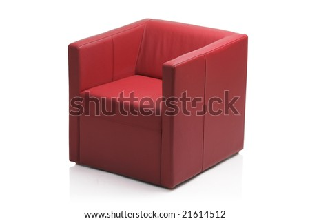 Image of a modern red leather armchair isolated on white background - stock photo