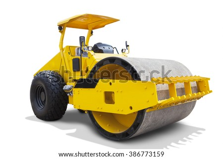 Image of a modern road roller with yellow color, isolated on white background
