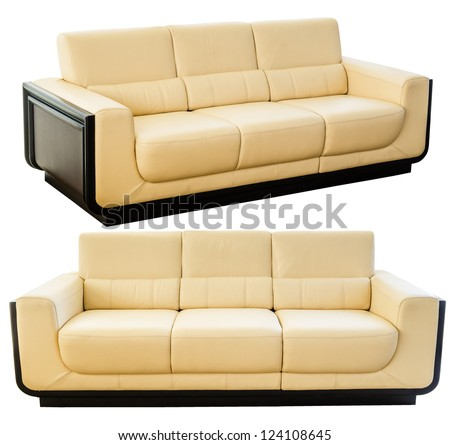 Image of a modern white cream leather sofa isolated against white background - stock photo