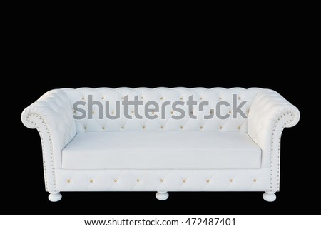 Image of a modern white leather sofa isolated