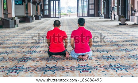 Image of a Muslim prays - stock photo