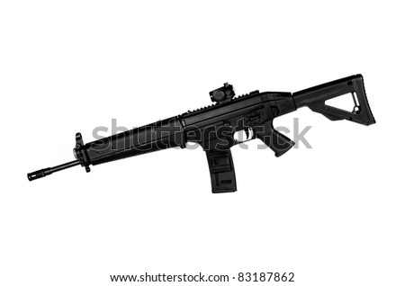 Image of a .556 NATO Tactical Rifle on a white background - stock photo