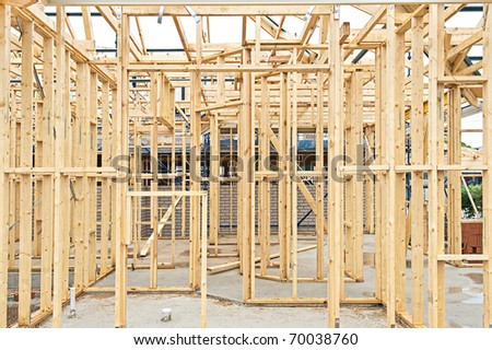 image of a New residential construction home framing - stock photo