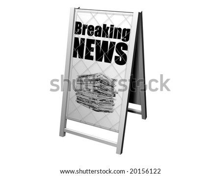 image of a news board with the headling breaking news - stock photo