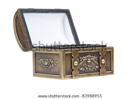 Image of a open gold chest isolated on a white background. - stock photo