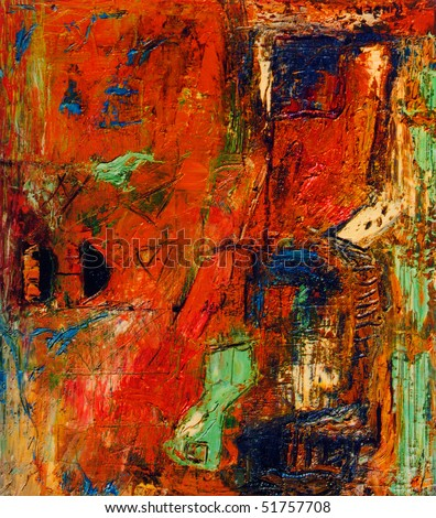Image of a Original Mixed media Abstract Oil Painting on Canvas - stock photo