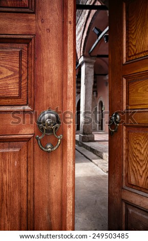 Image of a pair of doors, half open. Istanbul, Turkey.  - stock photo