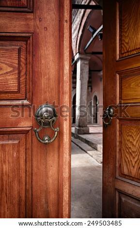 Image of a pair of doors, half open. Istanbul, Turkey.  - stock photo