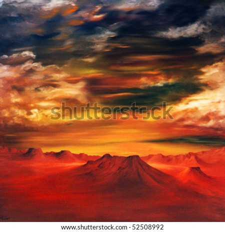 Image of a partial Airbrush Oil Painting on Canvas - stock photo