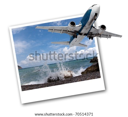 Image of a passenger airplane in the photo with sea views. - stock photo