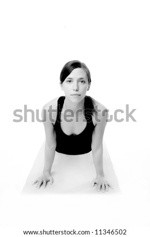 Image of a pretty young woman demonstrating yoga - stock photo