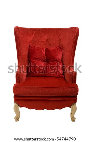 Image of a red chair on white - stock photo