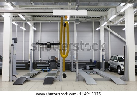 Image of a repair garage - stock photo