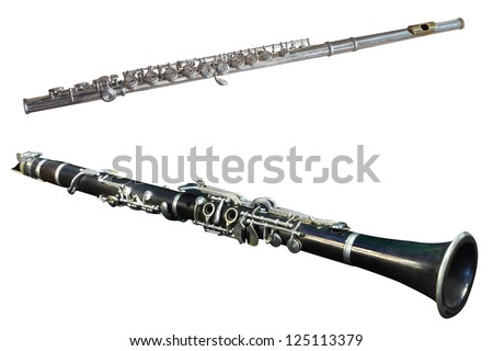 Image of a retro flute under the white background. Focus is under the center of a flute - stock photo