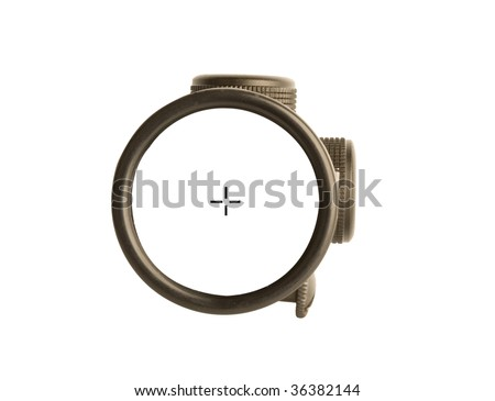 Image of a rifle scope sight used for aiming with a weapon - stock photo